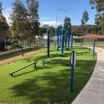 Outdoor Fitcore Extreme circuit for primary school aged children with separate stations for each exercise