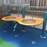 Playbooster Elevated Sand Table with flat table featuring two deep dishes for sand or water