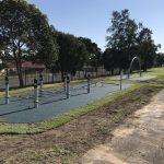 Outdoor fitness equipment low horizontal cargo net in rubber wetpour surfacing