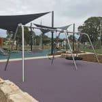 Double Swing set with stainless steel frame featuring Birds Nest seat for multiple children and standard strap and bucket seats