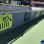Wall mounted sensory panels in children's play area in shopping complex