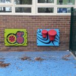 Wall Mounted sensory panels, Green Gear Panel and Blue Bong Drum Panel