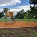 Playground Equipment with bark mulch and brick paved edging