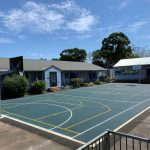 Rubber Wetpour Sports Court with concrete edging