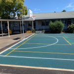 Line Marking on Rubber Wetpour Sports court and Reversible Basketball Tower