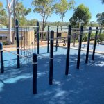 Outdoor Fitness Equipment with chin up bars, parallel bars and climbing wall