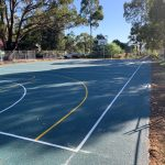 Basketball Court with Blue rubber surfacing and line marking