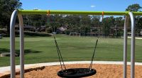 Arch frame swing with large nest seat for multiple children