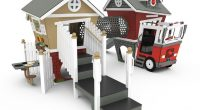 childs cubby play house with fire station and house