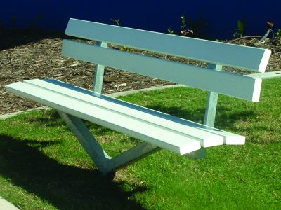 White Courtesy Seat for council park with colorbond slats and back rest