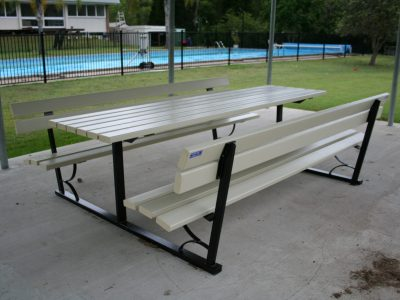 Free Standing Picnic table with benches on either side of the table