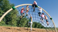 Large Arched Net Climber with children climbing up to the top