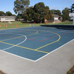 Sport equipment surfacing made from rubber wetpour and line marked for games