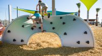 Steel Wave Board with Rock Climbing Knots with small children climbing across