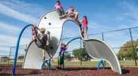 Steel Wavy Board with Rock Climbing Knots with children climbing over