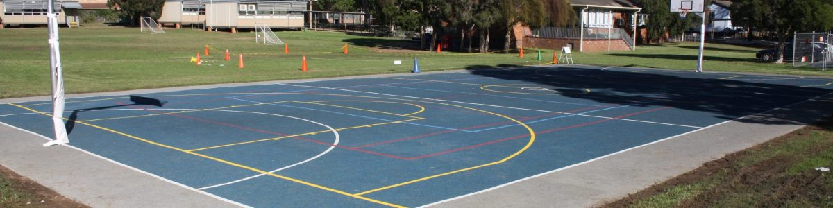 School basketball court area with rubber wetpour surfacing coloured blue with multi coloured line markings