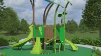 childrens play unit with built in shade sails and two slides, featuring climbers and a nature colour scheme