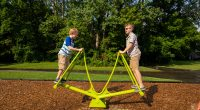 rocking triangular frame with children standing on each side making it go up and down
