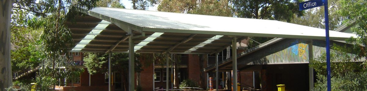 Gable Roof covered outdoor learning area in school with skylight panels to let sun through