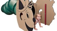 little girl crawling out of a worm tunnel with a big cartoon style face at the front and a green wavy body