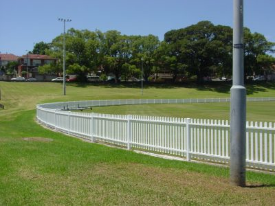 White picket style fencing around cricket oval