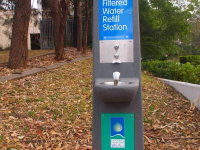 Tall Water Refill Station in park with bubbler head and tap dispenser